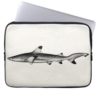Vintage Reef Shark Illustration - Black Tipped Laptop Sleeve