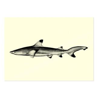 Vintage Reef Shark Illustration - Black Tipped Large Business Cards (Pack Of 100)