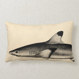 Vintage Reef Shark Illustration Black Tipped Lumbar Pillow