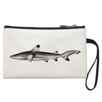 Vintage Reef Shark Illustration - Black Tipped Wristlet