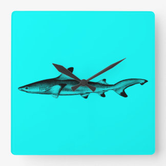 Vintage Reef Shark Illustration Neon Teal Blue Square Wall Clock