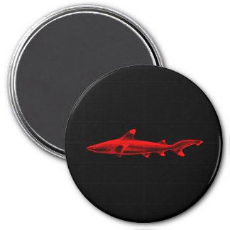 Vintage Reef Shark Illustration Red Black Sharks 3 Inch Round Magnet