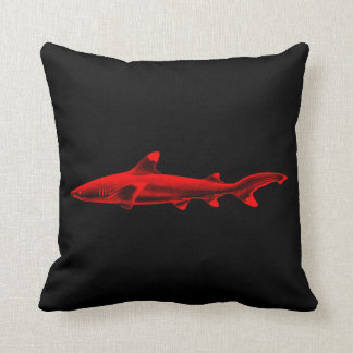 Vintage Reef Shark Illustration Red Black Sharks Throw Pillow