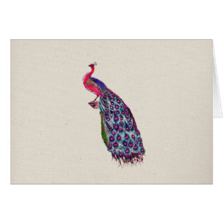 Vintage Regal Peacock Bright Girly Pink Teal Bird Card