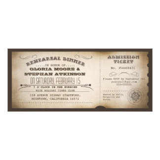 vintage rehearsal dinner ticket typography design personalized announcements