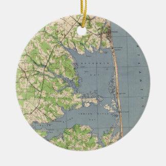 Vintage Rehoboth & Bethany Beach DE Map (1944) Ceramic Ornament