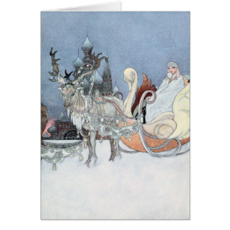 Vintage Reindeer and Sleigh by Charles Robinson Card
