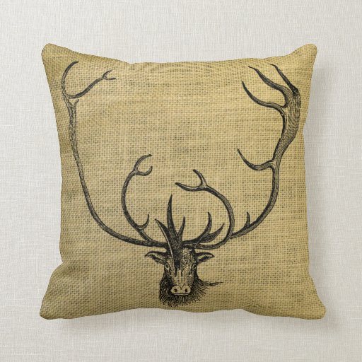 Antler Throw Pillow : Vintage Reindeer Head Antler Burlap Rustic Throw Pillow Zazzle
