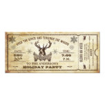 Vintage Reindeer Holiday Party Ticket Invitation