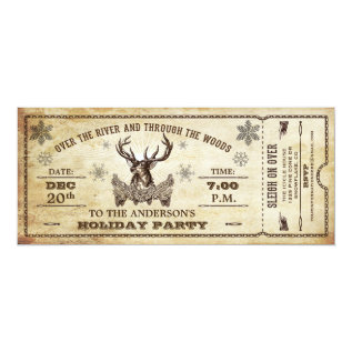 Vintage Reindeer Holiday Party Ticket Invitation at Zazzle