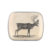 Vintage Reindeer Illustration - 1800's Christmas Jelly Belly Candy Tin