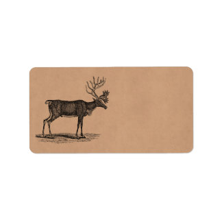 Vintage Reindeer Illustration -1800's Christmas Custom Address Label
