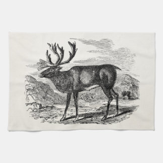 Vintage Reindeer Personalized Deer Illustration Kitchen Towels
