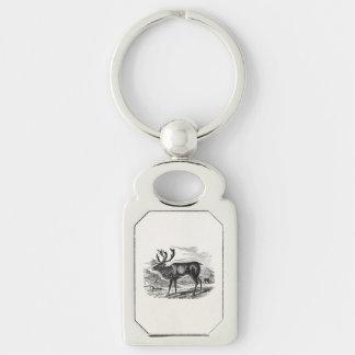 Vintage Reindeer Personalized Deer Illustration Silver-Colored Rectangular Metal Keychain