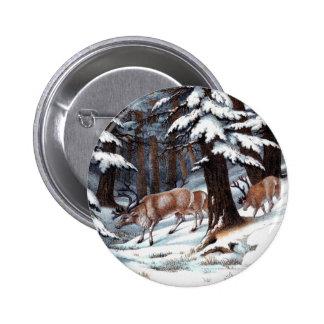 Vintage Reindeer Print 2 Inch Round Button