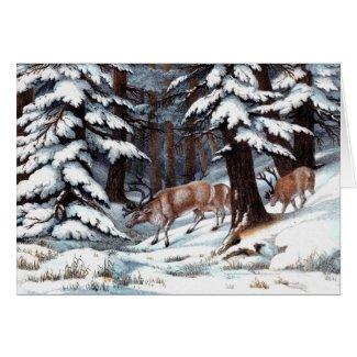 Vintage Reindeer Print Greeting Card