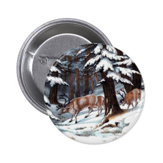 Vintage Reindeer Print Pinback Button