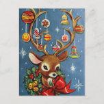 "Vintage reindeer retro Holiday Christmas postcard<br><div class=""desc"">design by www.etsy.com/Shop/VanityFlairDesign</div>"