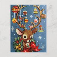 Vintage reindeer retro Holiday Christmas postcard