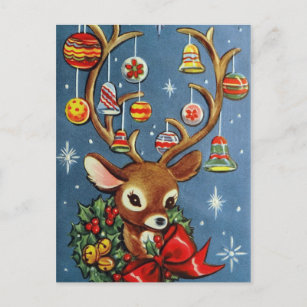 vintage reindeer retro holiday christmas postcard - Holiday Christmas Cards