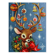 Vintage reindeer retro Holiday Christmas postcard