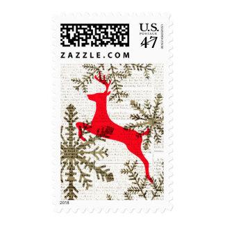 Vintage Reindeer Snowflakes on Newsprint Holiday Postage