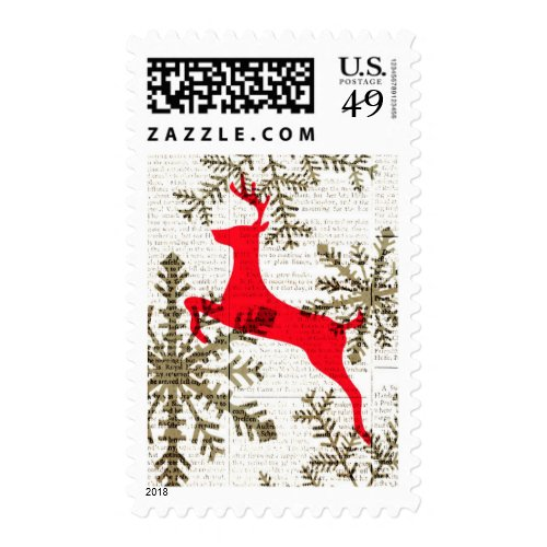 Vintage Reindeer Snowflakes on Newsprint Holiday Postage