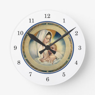 Vintage Relgious Christmas, Madonna and Child Round Clock