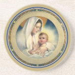 Vintage Relgious Christmas, Madonna and Child Coaster