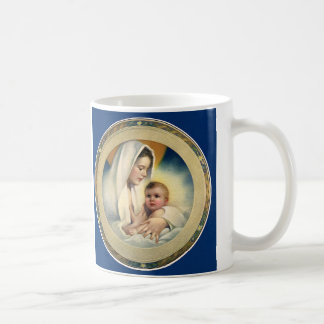 Vintage Relgious Christmas, Madonna and Child Coffee Mug