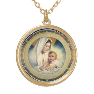 Vintage Relgious Christmas, Madonna and Child Gold Plated Necklace