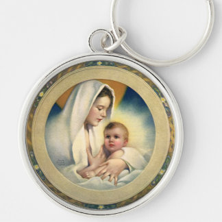 Vintage Relgious Christmas, Madonna and Child Silver-Colored Round Keychain
