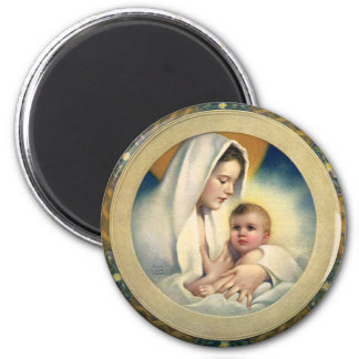 Vintage Relgious Christmas, Madonna and Child Magnet