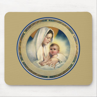 Vintage Relgious Christmas, Madonna and Child Mouse Pad
