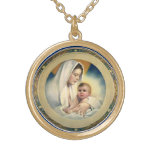 Vintage Relgious Christmas, Madonna and Child Round Pendant Necklace