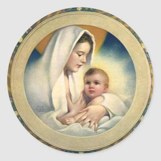 Vintage Relgious Christmas, Madonna and Child Round Stickers