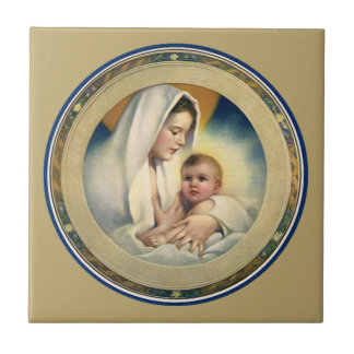 Vintage Relgious Christmas, Madonna and Child Tile