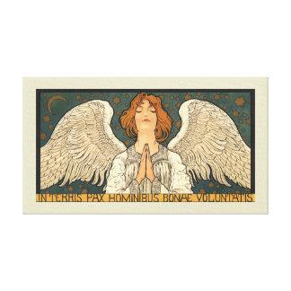 Vintage Religion, Angel Praying with Golden Stars Canvas Print
