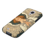 Vintage Religion, Angel Praying with Golden Stars Galaxy S4 Case