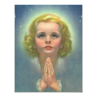 Vintage Religion, Angelic Child with Halo Praying 4.25x5.5 Paper Invitation Card