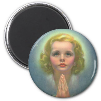 Vintage Religion, Angelic Child with Halo Praying 2 Inch Round Magnet