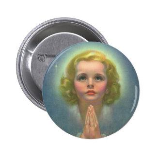 Vintage Religion, Angelic Girl Child Praying Halo Button