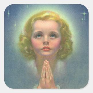 Vintage Religion Angelic Girl Child Praying Halo Square Stickers