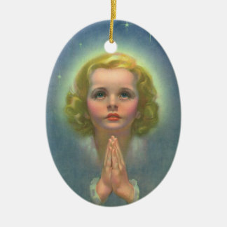 Vintage Religion, Angelic Girl with Halo Praying Ceramic Ornament