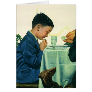 Vintage Religion, Boy Saying Grace at Thanksgiving Card