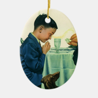 Vintage Religion, Boy Saying Grace at Thanksgiving Ceramic Ornament
