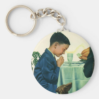 Vintage Religion, Boy Saying Grace at Thanksgiving Keychain