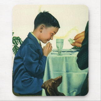 Vintage Religion, Boy Saying Grace at Thanksgiving Mouse Pad