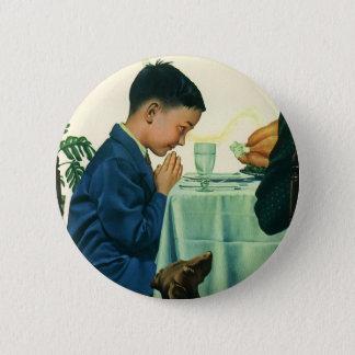 Vintage Religion, Boy Saying Grace at Thanksgiving Pinback Button