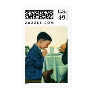 Vintage Religion, Boy Saying Grace at Thanksgiving Postage